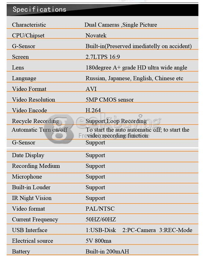 BL800 Car DVR Specifications